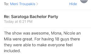 Saratoga Spring party review